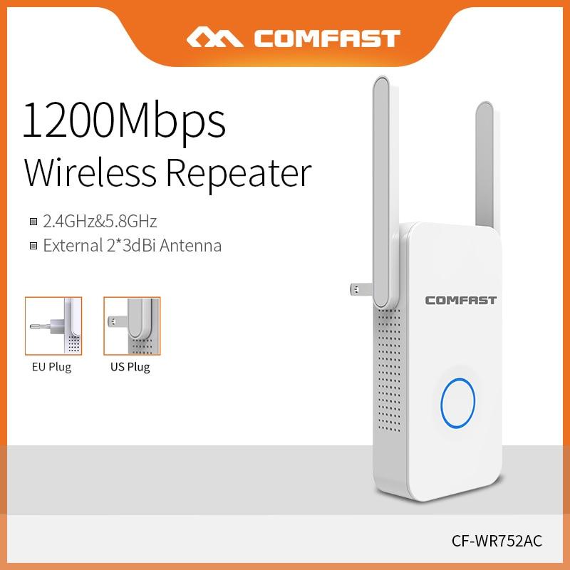Comfast Home Wifi Repeater High Speed 1200 Wireless Range Extender Amplifier 2.4G&5Ghz Wifi Booster 2*3dbi Antenna CF-WR752AC