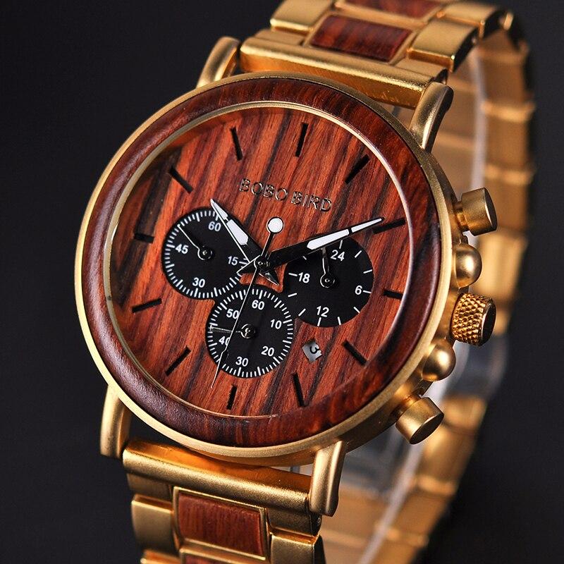 BOBO BIRD Gold Watch Men Luxury Brand Wooden Wristwatches Male Date Display Stop Watches reloj golden hour