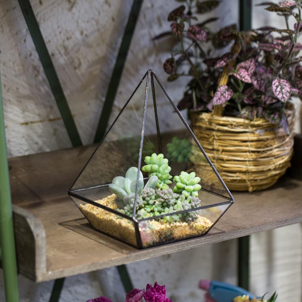 Modern Glass Polyhedrons Tabletop Succulent Plant Terrarium Box/Air Plant & Cacti Geometric Glass Eco Holder Case Bottle Bonsai