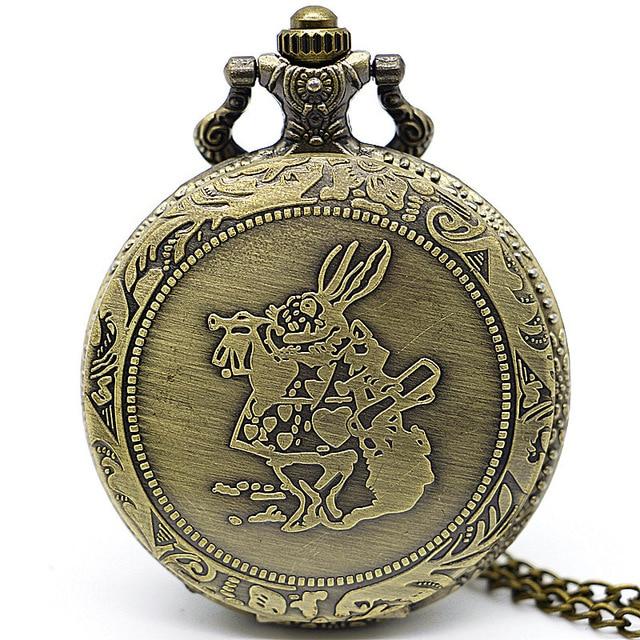 Reloj De bronce con conejo y monedero De chica Alice in the Wonderful World, relojes De bolsillo con leontina, regalos para hombres, reloj De bolsillo