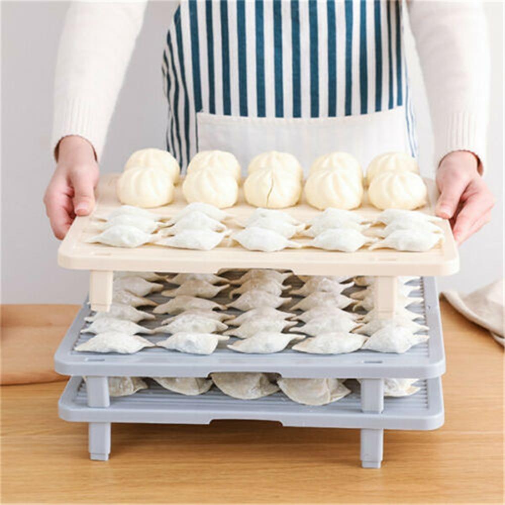 Rectangular/Round Foldable Food Tray Noodles Dumplings Curtain Cutlery Trays Drain Rack Kitchen Dish Storage Supplies