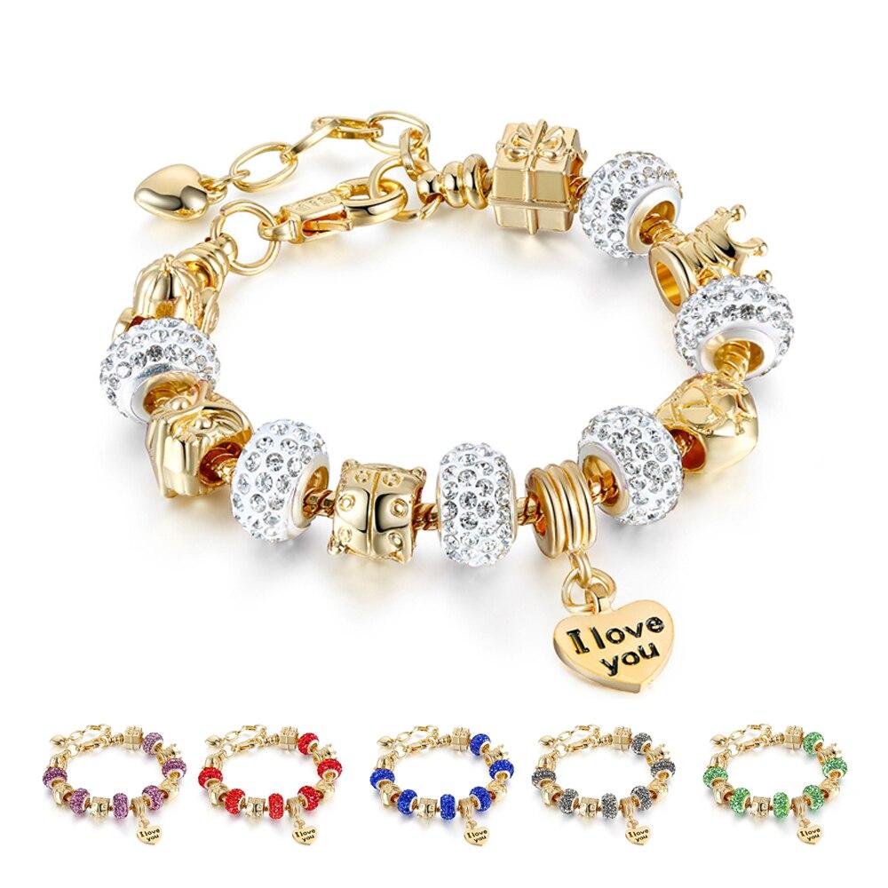 Golden Cross Fashion Crystal Heart Charm Gold Bangle For Women Multi Color 'I Love You' Cuff Love Bracelet Wedding Gift