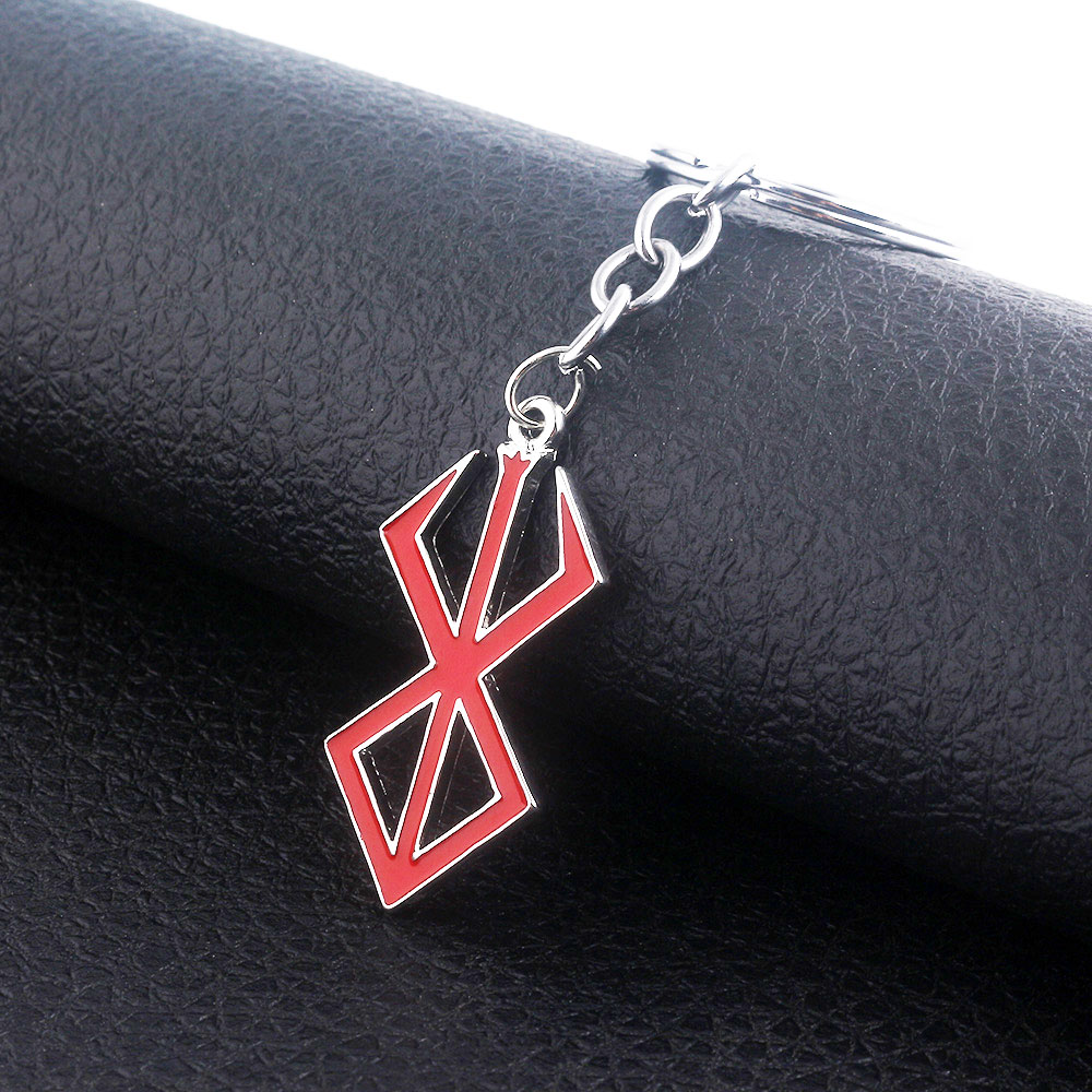 Брелок с логотипом Berserk, японский игровой брелок с красным логотипом