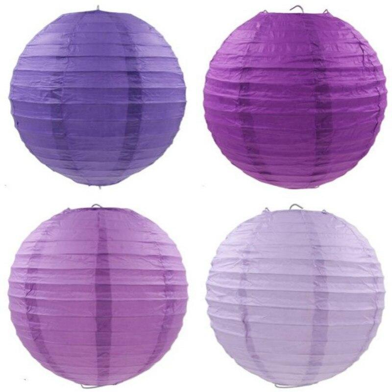Violeta Cor Rround 10-15-20-25-30-35-40cm Lanternas de Papel Chinês para Festa de Casamento Evento Decoração Do Feriado Suprimentos de Papel Bola
