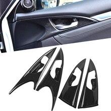 Poignée de porte intérieure de bol   Moulures intérieures en Fiber de carbone, garniture de panneau de bol pour Honda Civic 10th 2016 2017 2018 2019 LHD