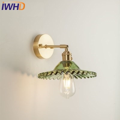 IWHD Copper Nordic LED Wall Lamp Post Modern Wall Lights Vintage Light Glass Fixtures Home Lighting Bedside Sconce Luminaire iwhd nordic retro vintage wall lamp beside bedroom bathroom mirror light glass copper wall sconce edison led lampara pared