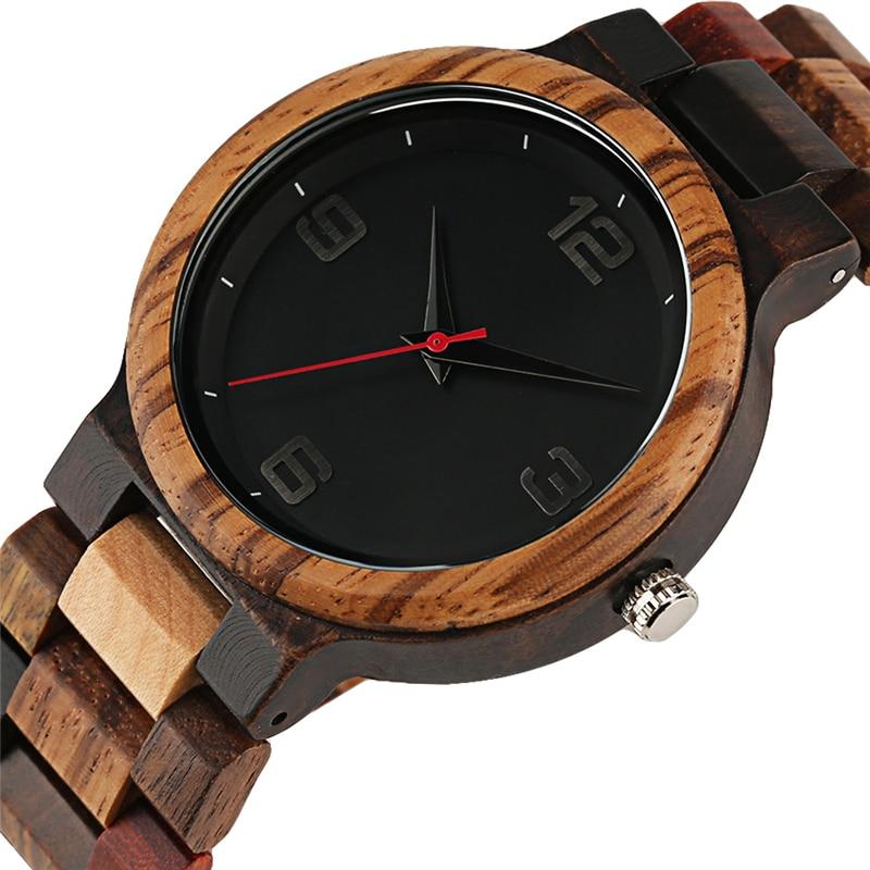 Reloj único de Color mixto para hombre, Reloj Retro de pulsera de madera, Reloj de pulsera de cuarzo, relojes analógicos redondos de lujo, Reloj de madera