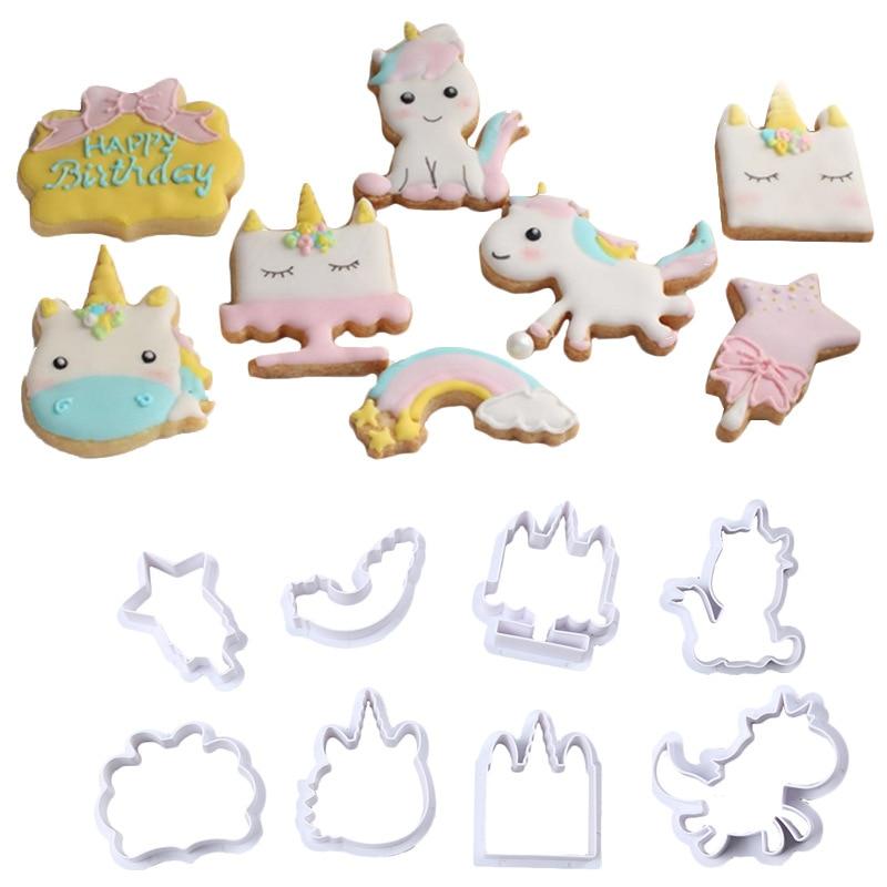 Molde de plástico para cortar pasteles, Fondant, de dibujos animados, galletas, azúcar, unicornio, A1516-A1517