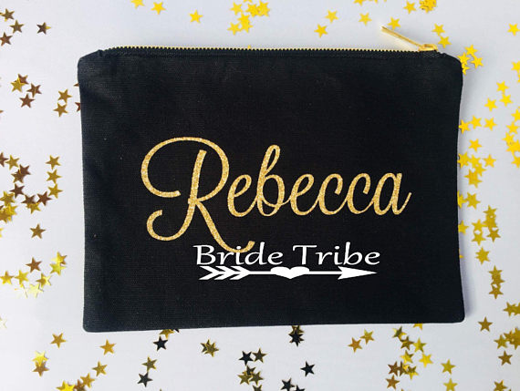 customize bride tribe wedding bridal Bridesmaid Makeup Gift Make Up comestic Bags kits zipper pouches Clutches Birthday gift
