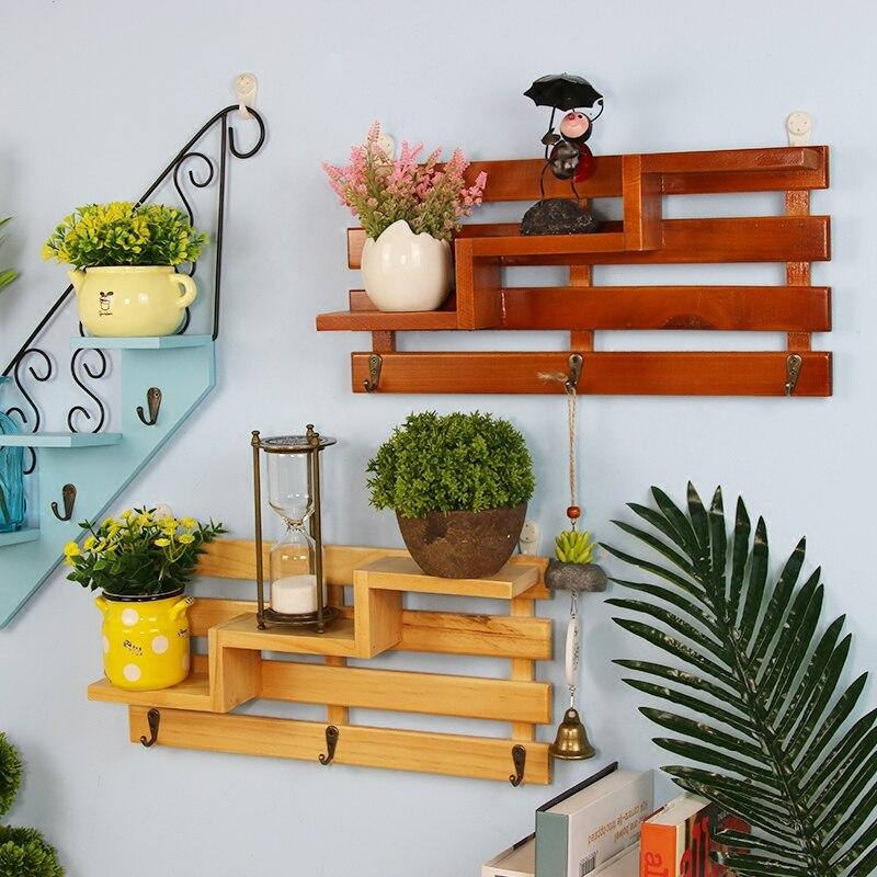 Estante para escaleras OUSSIRRO, gancho colgante de pared de madera para estante, decoración para dormitorio y sala de estar, estante de almacenamiento L2122