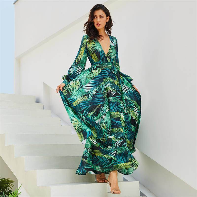 Vestido de manga larga verde Tropical vintage de playa Maxi vestidos Boho Casual cuello pico cinturón de encaje hasta túnica drapeada de talla grande vestido de verano