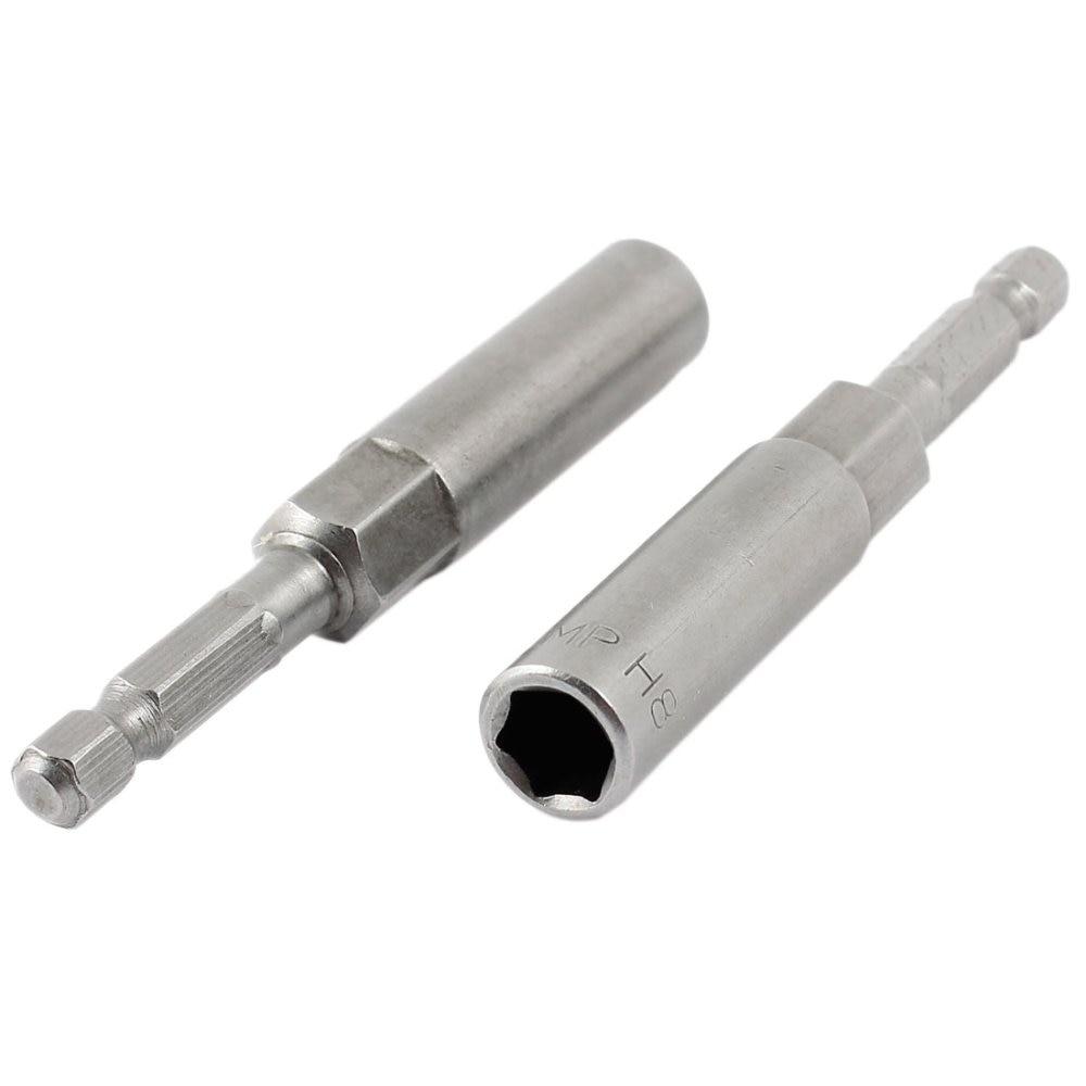 "UXCELL gran oferta 2 uds Metal 80mm de largo 1/4 ""mango 8mm hexagonal tuerca de casquillo conductor Setter poco"