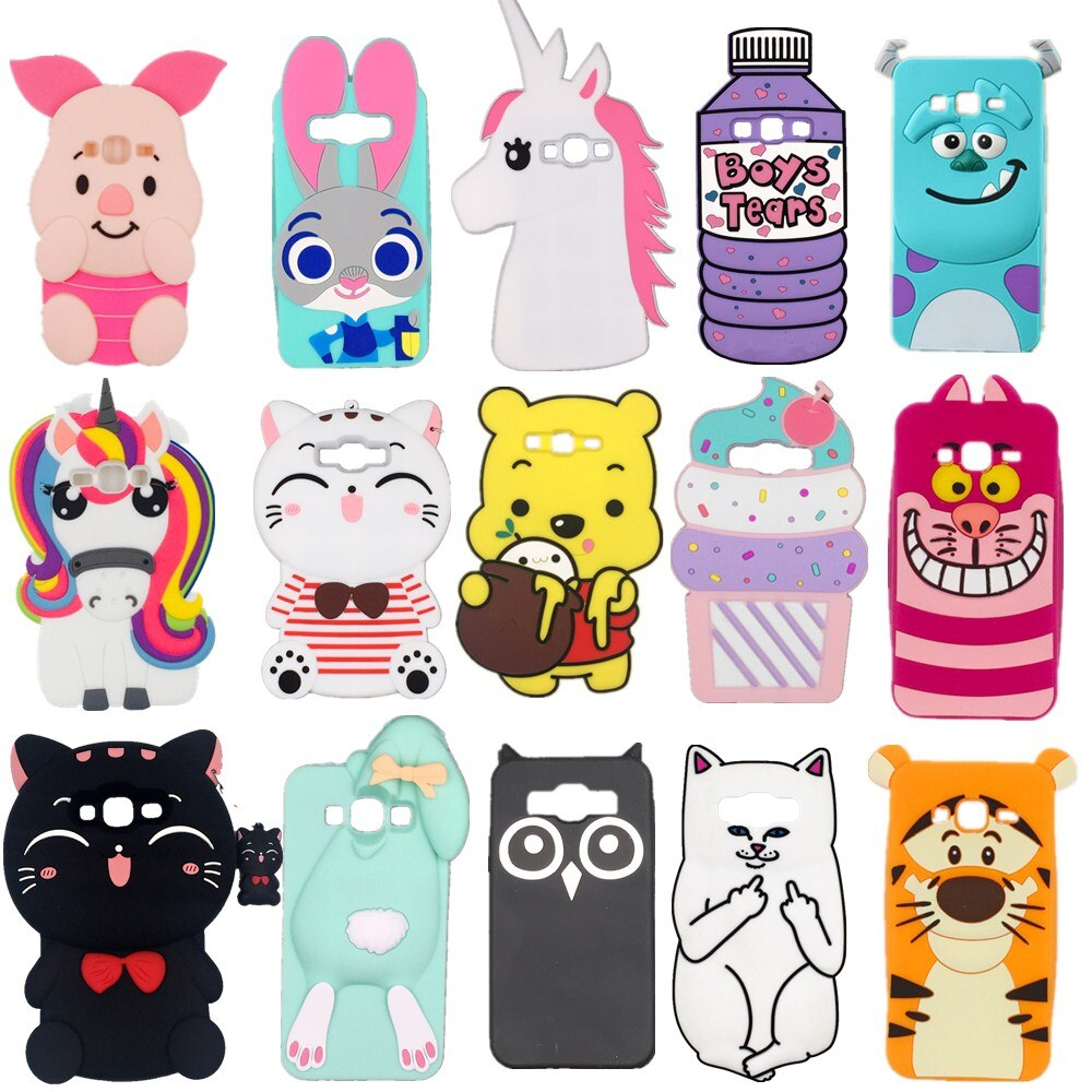3D Silicon Cupcake Pig Owl Cat Pill Cactus Cartoon Soft Phone Case Cover for Samsung Galaxy A5 J5 A7 J7 J1 J3 2015 2016 2017
