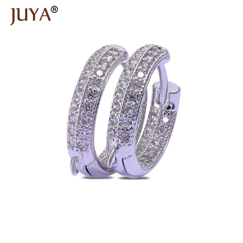 Ganchos de pendientes de cierre de palanca Juya Creative de cristal austriaco, pendientes de aro, accesorios de gancho DIY para mujer, para hacer joyas, pendientes, ganchos