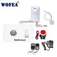 Wofea     systeme dalarme de securite domestique sans fil  gsm  3 zones filaires  avec capteur de mouvement filaire et contact de porte  controle par application IOS et android