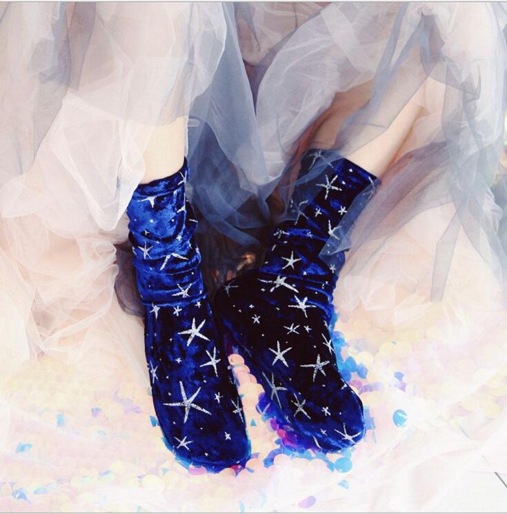 2018 nouveau arrivé Style coréen mode haute qualité étoiles diamant velours paillettes chaussettes femmes hiver velours chaussettes tas chaussettes
