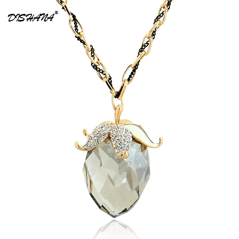 New big glass gold -color romantic plum vintage women statement austrian crystal Pendant necklace jewelry display(X0154)