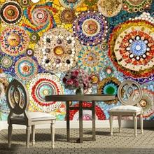 Papier peint mosaïque murale en brique   Grand papier peint rétro américain abstrait pour salon, arrière-plan de la télévision, papier mural 3D