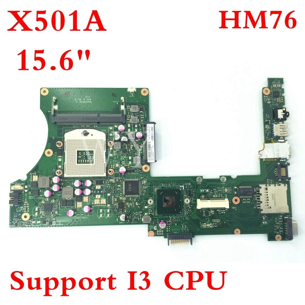 X501A SLJ8E دعم I3 CPU HM76 REV 2.0 اللوحة ل ASUS X301A X401A X501A اللوحة المحمول 60-NNOMB1102-A06