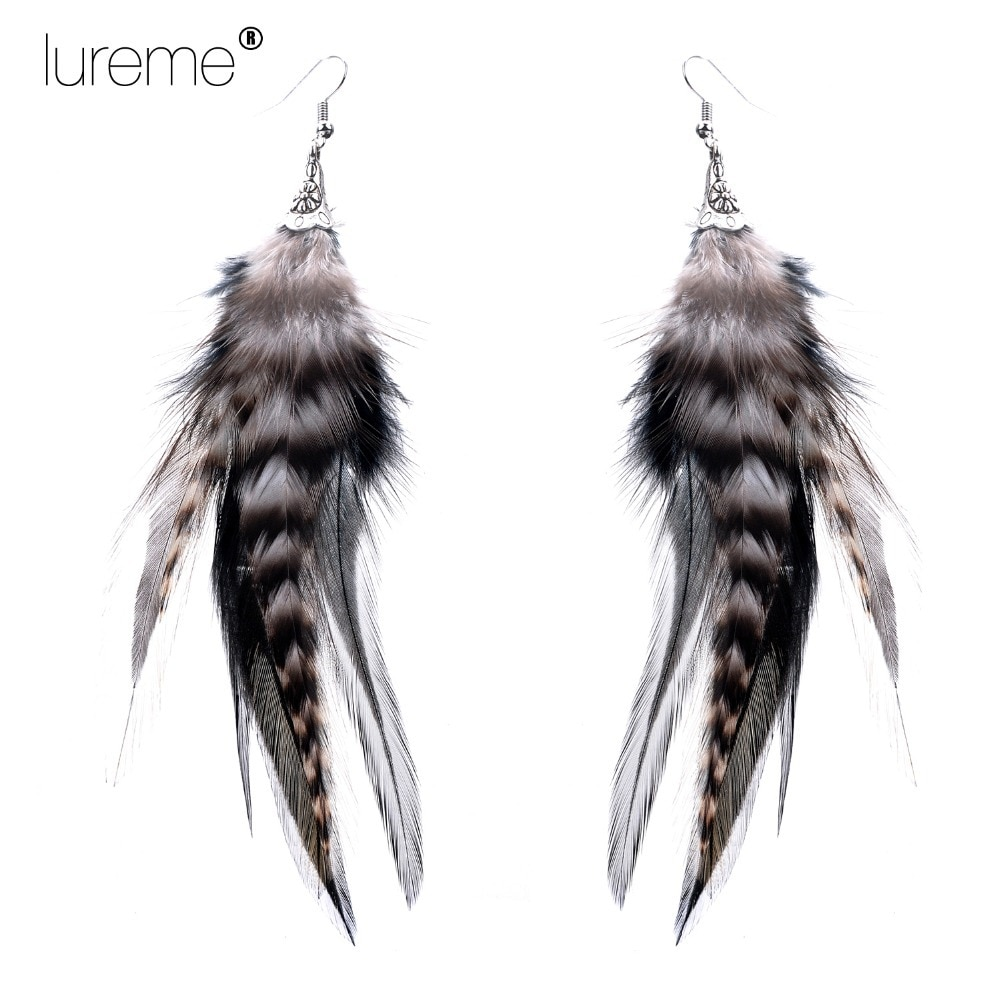 Lureme Indiana Style Flower Trumpet Pheasant Feather Drop Earrings for womens Fashion Fine Jewelry Best Gift 2015 Hot Sale