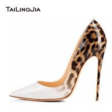 Женские свадебные туфли на высоком каблуке белого цвета с леопардовым принтом; женские туфли-лодочки на каблуке; Свадебная обувь на шпильке; обувь под вечернее платье; 2019