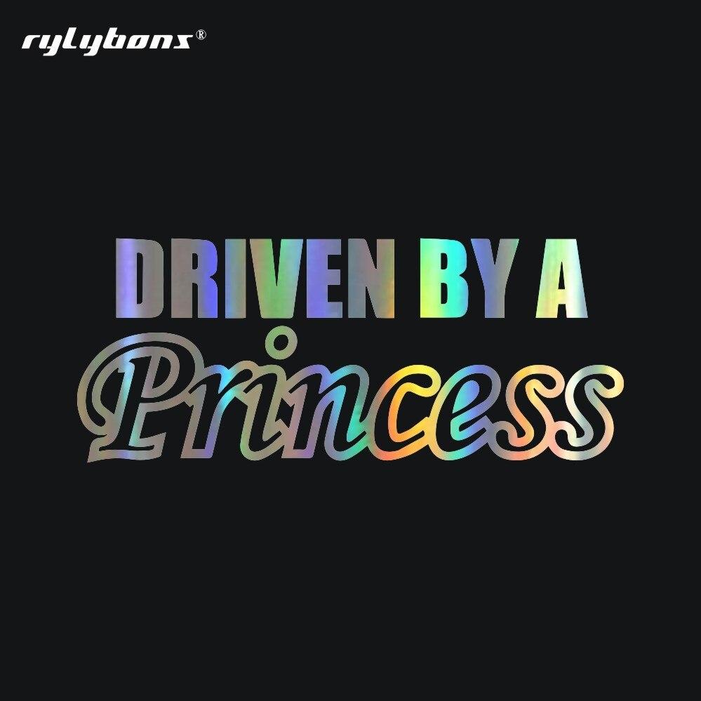 Rylybons-autocollants de voiture 1 pièces   Autocollants classiques de conduite de femme, en vinyle, conduit par une princesse, accessoires de style de voiture