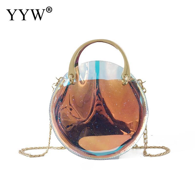 2018 redondo de moda de fiesta de noche transparente bolsa chica bolsos color láser A granel claro jalea bolsas mujeres bolsas de hombro lindo saco principal