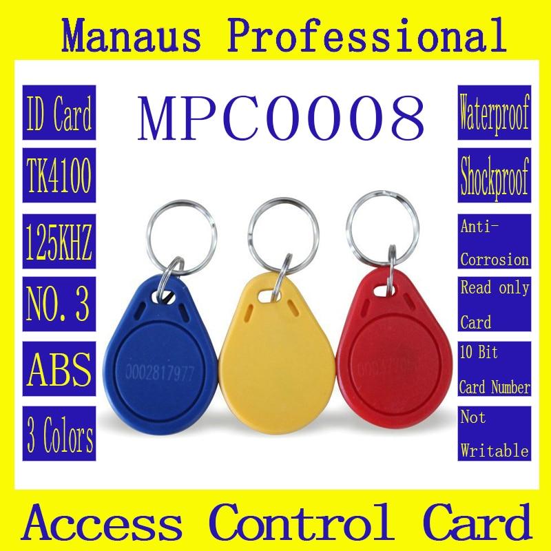Calidad de marca Assurance TK4100 ID keyfobs RFID Tag 125KHZ Ficha de proximidad NO.3 acceso Control asistencia llavero tarjeta 100 Uds C8