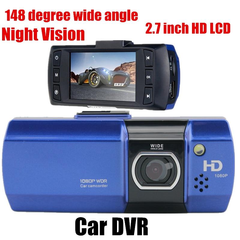 148 grados gran angular Full Car DVR Video Recoder Cámara g-sensor 2,7 pulgadas LCD visión nocturna envío gratis