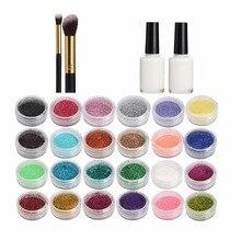 24 colores temporal flash polvo tatuaje arte pintura set DISEÑO DE Maquillaje facial DIY henna molde + cepillo plástico set pintura corporal