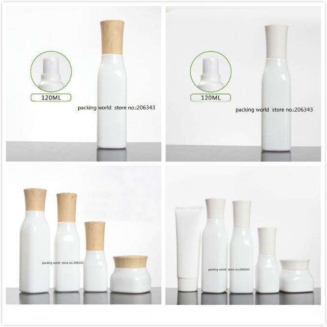 100 forma cuadrada ml botella de cristal blanca con tapa de tornillo de la loción/de la emulsión/suero/base/toner/agua de cuidado de la piel embalaje de cosméticos