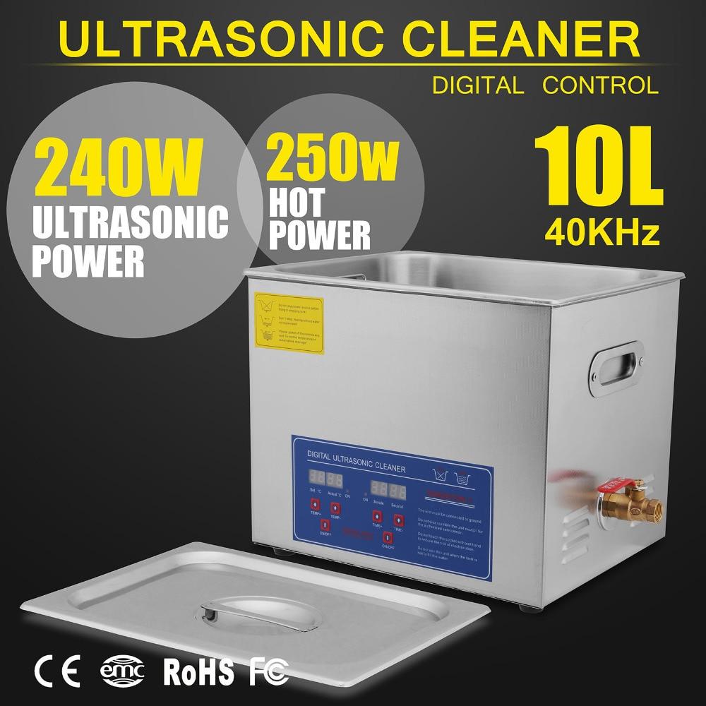 ¡Novedad! potente limpiador ultrasónico de acero inoxidable, calentador Digital con temporizador de 10L litros y 490W de VEVOR
