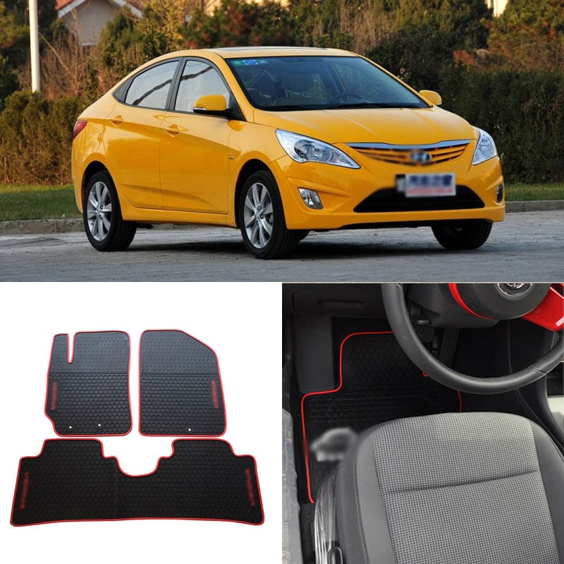 Alfombrillas de goma negras resistentes para todo tipo de clima de alta calidad para Hyundai Verna