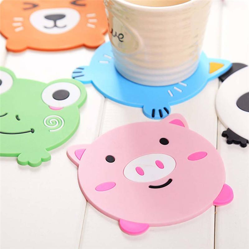 BPA libre lindo dibujo animado cerdo Rana Panda gato zorro almohadilla para tazas posavasos comedor posavasos individuales de mesa taza de café Bar taza almohadillas de bebida