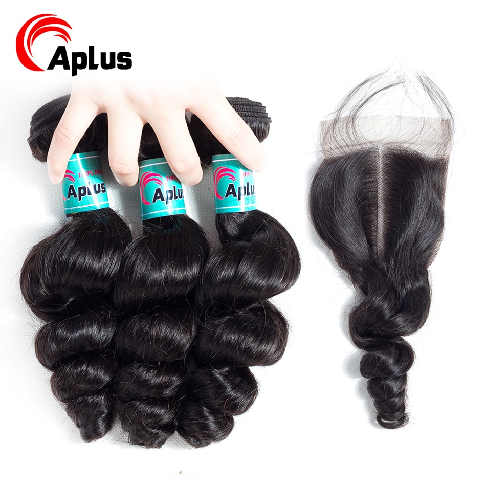 Paquetes malayos onda suelta con cierre cabello humano no Remy 3 paquetes con cierre para mujeres con pelo de bebé 4 unids/lote aplus pelo