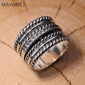 925 sterling silver ring retro Thai silver wide version twisted pattern personality men's sterling silver ring