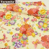 teramila cotton gold foil linen fabric luxurious printed floral with butterflies design beige quilting tissue pillow bag curtain