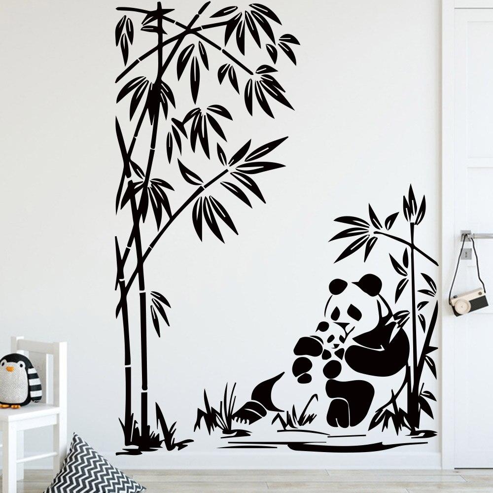 Милые настенные Стикеры с рисунком панды для детской комнаты, украшения, аксессуары, виниловые наклейки, декор для спальни, Настенные обои с животными