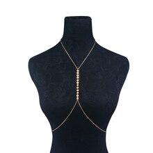IngeSight.Z Boho Simple Copper Sequin Chain Necklace Body Chain for Women Sexy Summer Beach Bikini Harness Belly Chain Jewelry