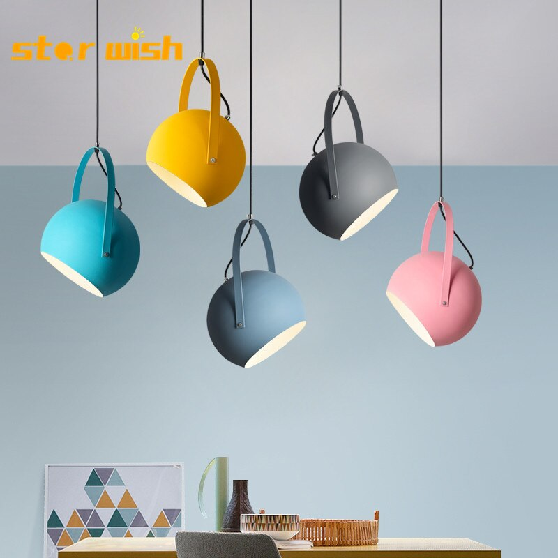 Star wish Macaron colourful Pendant Lights Dining Room  Hunging  Lamps  Restaurant Coffee Bedroom Lighting adjustable