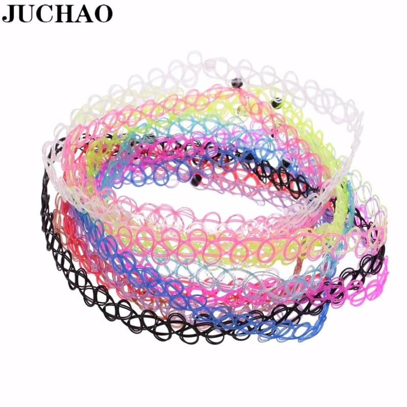 JUCHAO nuevo Collares Vintage gargantilla extensible de tatuaje Collares para las mujeres...