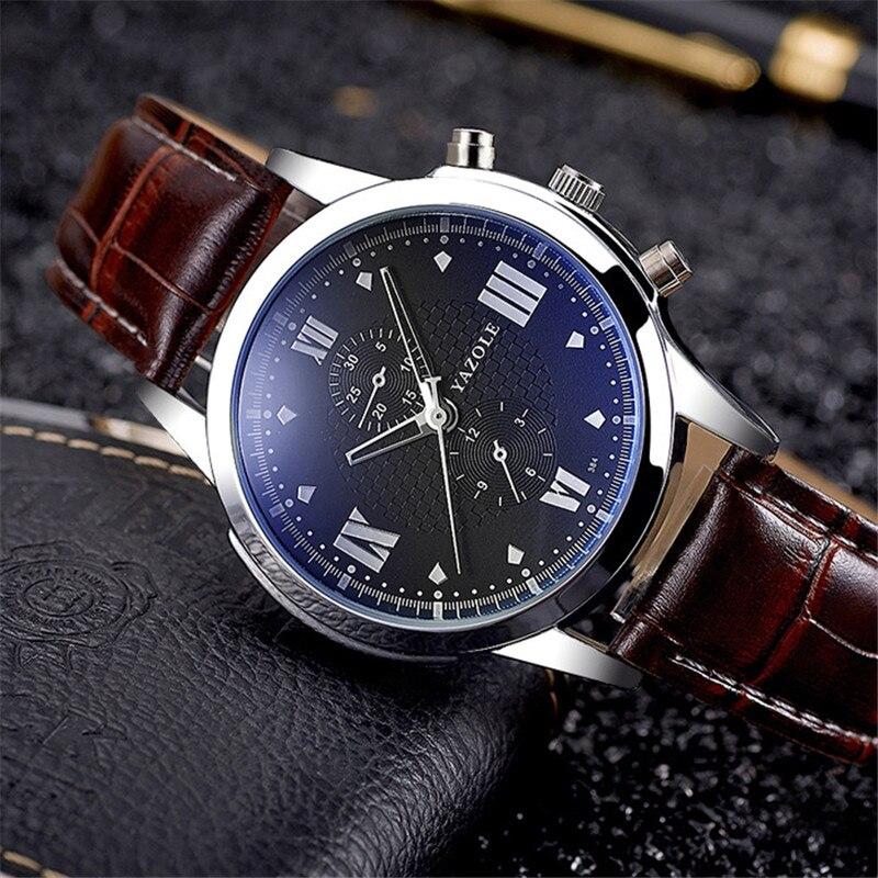 Reloj de pulsera YAZOLE para hombre, de lujo, de cuero, famoso, de cuarzo, para negocios, Relogio Masculino YD384