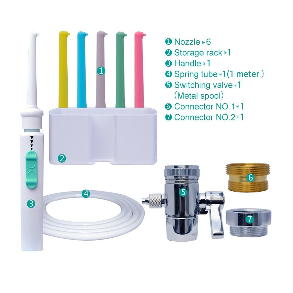 AZDENT, 6 puntas, grifo Dental, interruptor de hilo Dental, irrigador de agua Oral, riego individual, Multi irrigador Dental con chorro, limpiador de dientes familiar