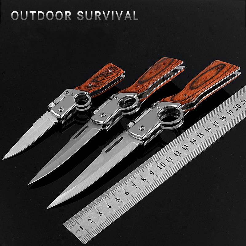 Mini cuchillo de bolsillo de acero inoxidable, cuchillo táctico de titanio, cuchillo multiherramienta de supervivencia para senderismo, cuchilla de conmutación, cuchillos de defensa para exteriores