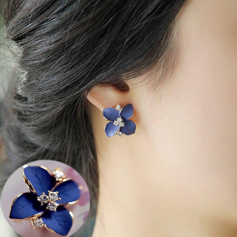 Vienkim Hohe Qualität Gold Farbe Edle Stud Blau Blume Matt Blume Strass Stud Ohrringe Charme Frauen Schmuck