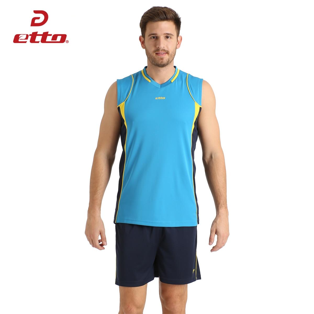 Etto Professional Men sin mangas conjunto de voleibol UNIFORMES DE EQUIPO transpirable de secado rápido voleibol Jersey traje ropa deportiva HXB002