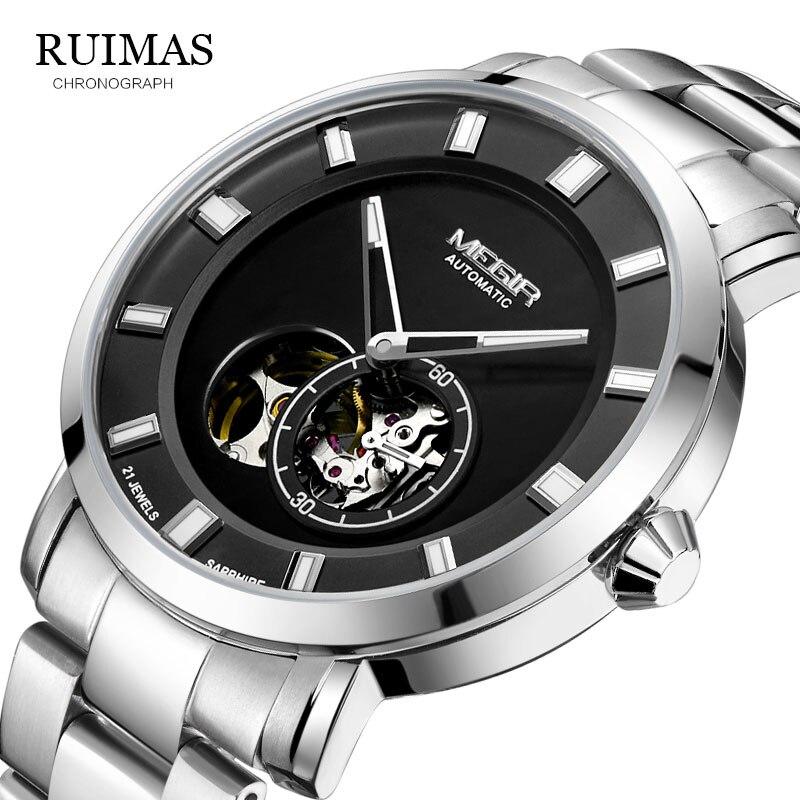 ساعة يد آلية أوتوماتيكية فاخرة من MEGIR ساعات يد للأعمال من الفولاذ المقاوم للصدأ للرجال ساعات رجالية بهيكل عظمي