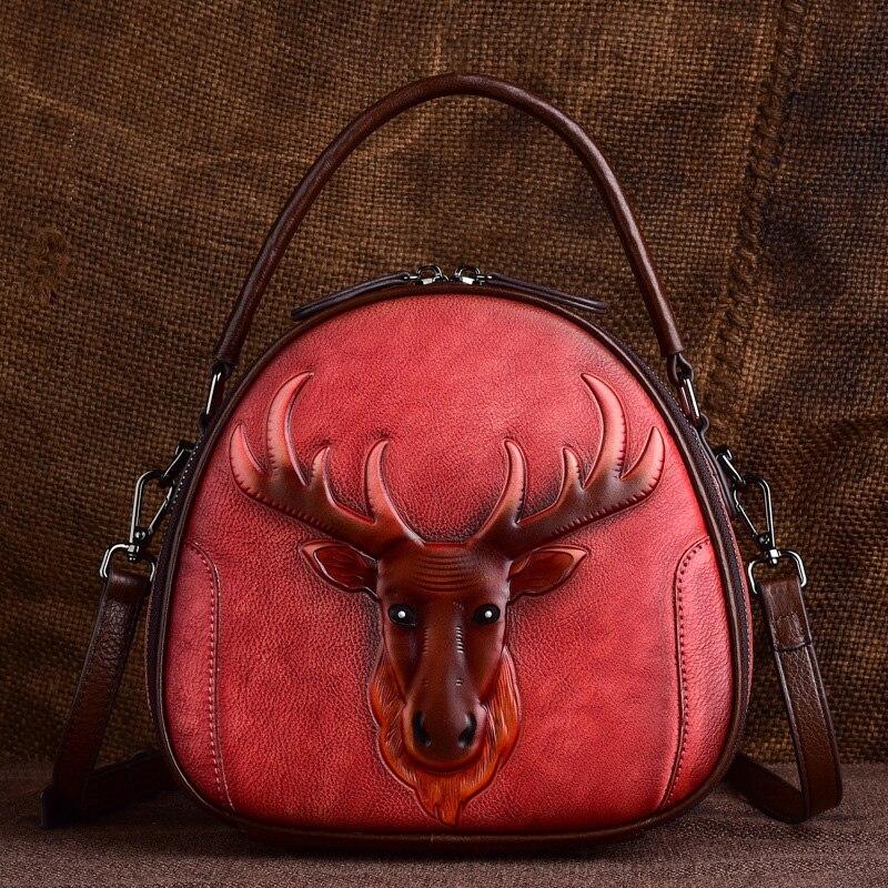 Norbinus vintage crossbody sacos para as mulheres de couro genuíno saco do mensageiro animal impressão tote bolsa ombro feminino superior alça