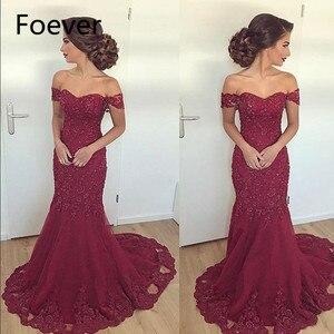 Burgundy Mermaid Evening Dresses Long 2019 vestidos de fiesta de noche Arabic Off The Shoulder Formal Women Dress Prom Gowns