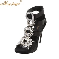 satin women sandals female shoes rome gladiator crystal super high thin heels solid ankle strap novelty leisure 2019 wedding
